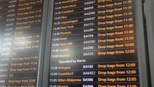 Heathrow airport departure boards