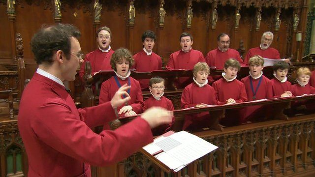 Choristers rehearsing at Truro cathedral