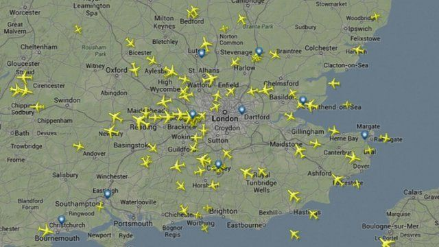 Planes over south-east England