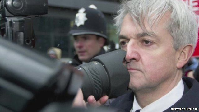 Disgraced former minister Chris Huhne outside Southwark Crown Court