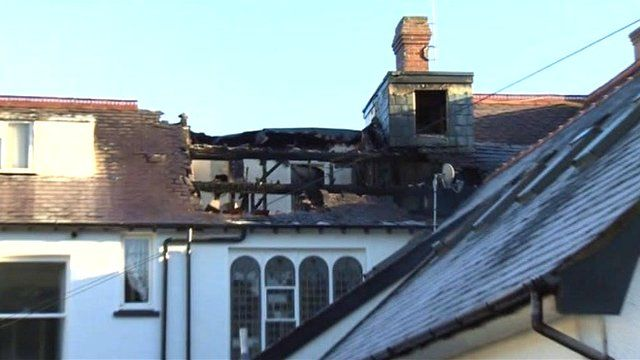 Fire damaged roof at Hafod Y Green care home