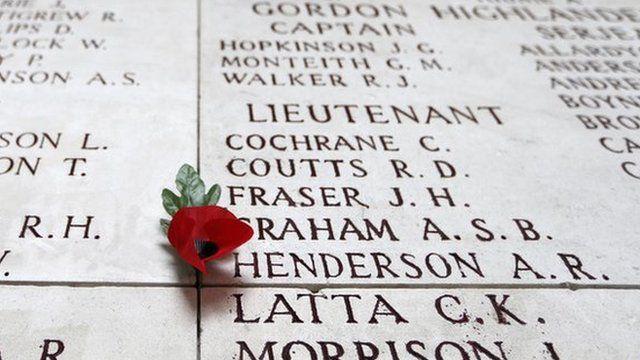 Soldiers names engraved in memorial in Ypres