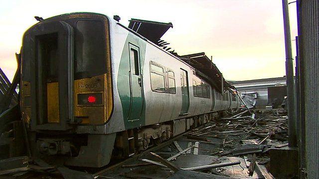 Wreckage of Cork train station