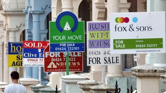Estate agents for sale signs outside of London