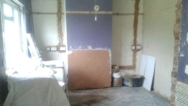 Unfinished building work in a room