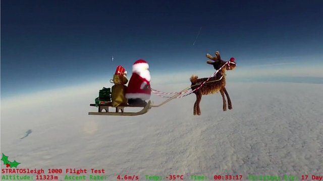 An cartoon image of Santa and a reindeer in the sky