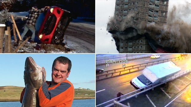 Overturned car, Red Road flats, a fisherman and a van on the Forth Bridge