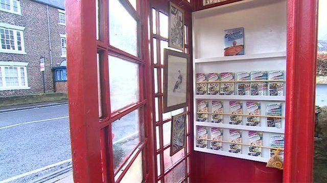Phone box art gallery in Hexham