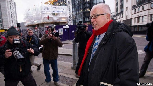 Denis MacShane outside the Old Bailey