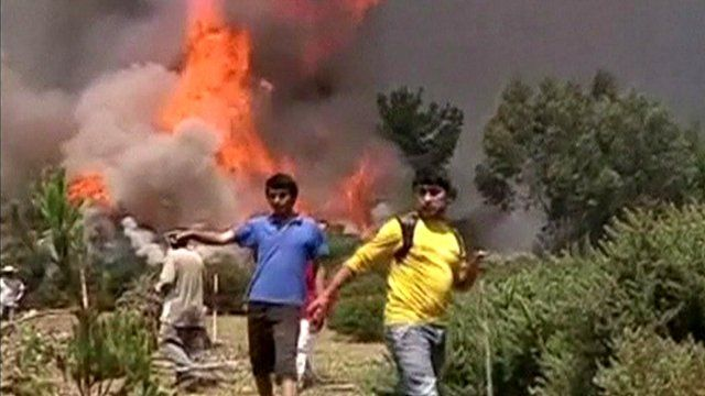 Local residents had to be evacuated from the path of the fires