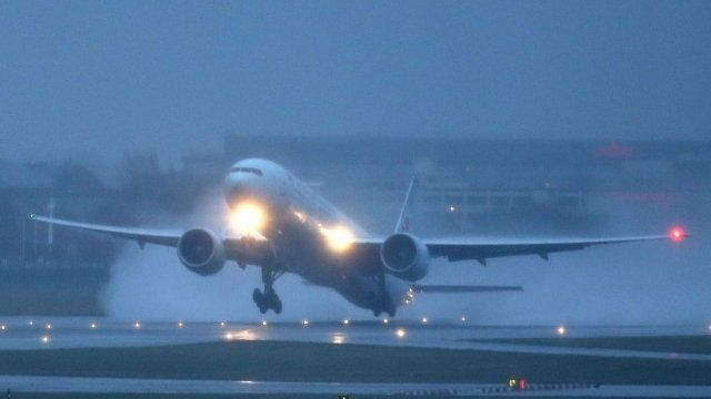 A plane takes off at Heathrow Airport
