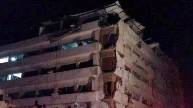 Damaged security building in Mansoura
