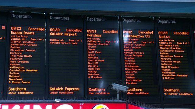 Train cancellations board