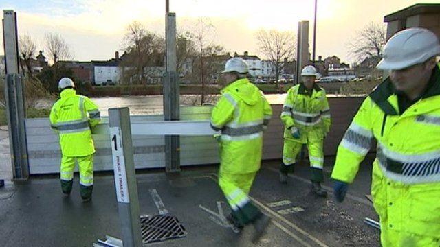 Flood barriers put up in Shrewsbury