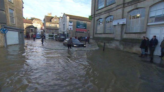 Flooding in Bradford-on-Avon, Wiltshire