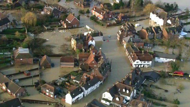 Aerial views of flooding in southern England