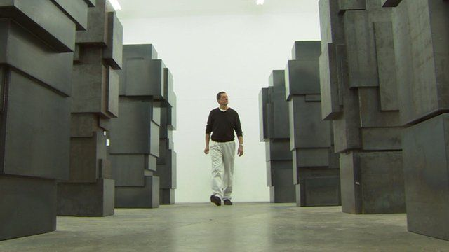 Antony Gormley amid some of his sculptures