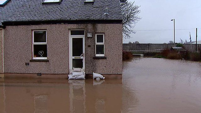 A house in Kirkconnel surrounded by floodwater