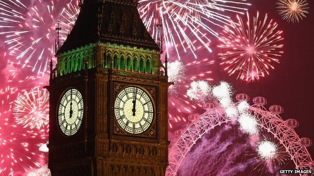 Fireworks surround Big Ben