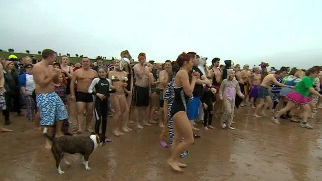 New Year's Day dip at Whitley Bay, North Tyneside