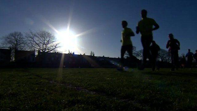 Brendon Birch runs with his friends