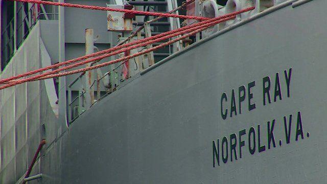 Hull of ship showing name