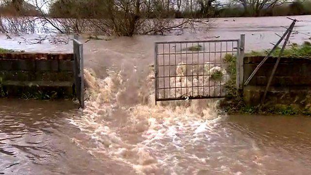 River Severn bursting its banks in Minsterworth