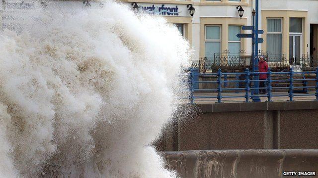 Waves break on Porthcawl seafront