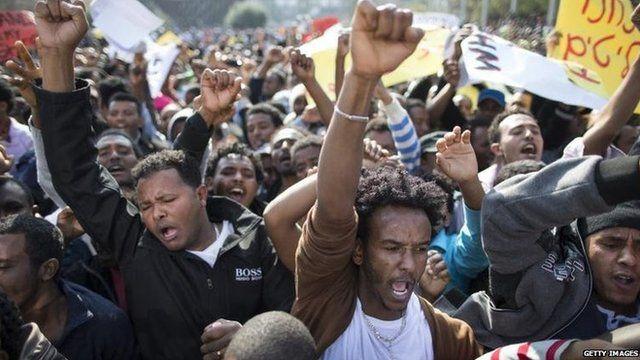 African migrants in Rabin Square in Tel Aviv, 5 Jan