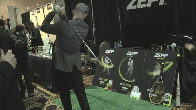 Zeep's Jason Fass demonstrates his company's sports sensor.