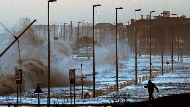 Water covers the coastal roads at Clevelys near Blackpool