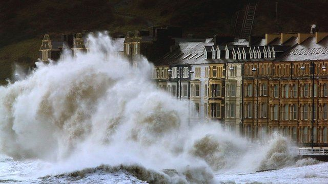 Waves crash against the Aberystwyth coastline