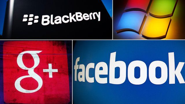 Company logos of Blackberry, Microsoft, Google and Facebook