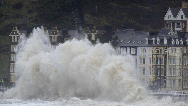 Wave crashing into seafront at Aberyswyth