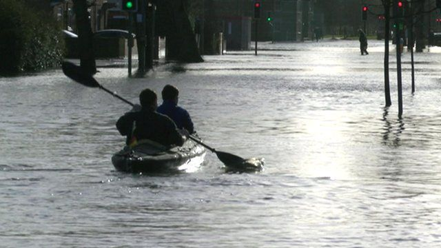 Flooded road in Oxford