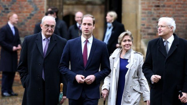 The Duke of Cambridge (centre) with officials from the University of Cambridge