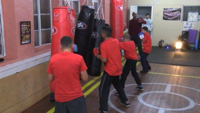 At work in the new boxing gym in a Sheffield mosque