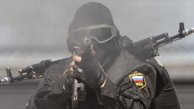 File picture of member of Russian Interior Ministry special forces unit (OMON)