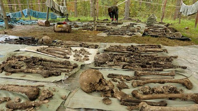 Bodies found in mass grave laid out