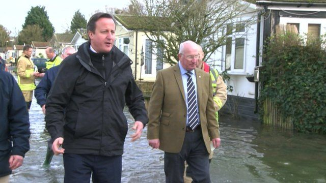 David Cameron in floods