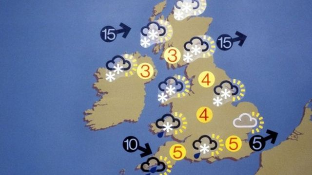 BBC weather map from 1975