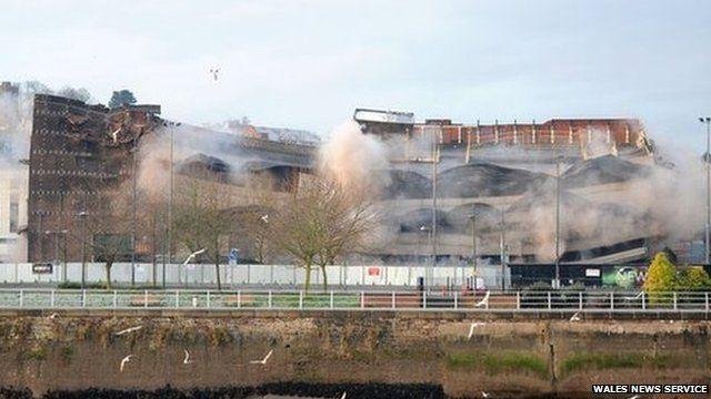 Demolition of Capitol car park, Newport