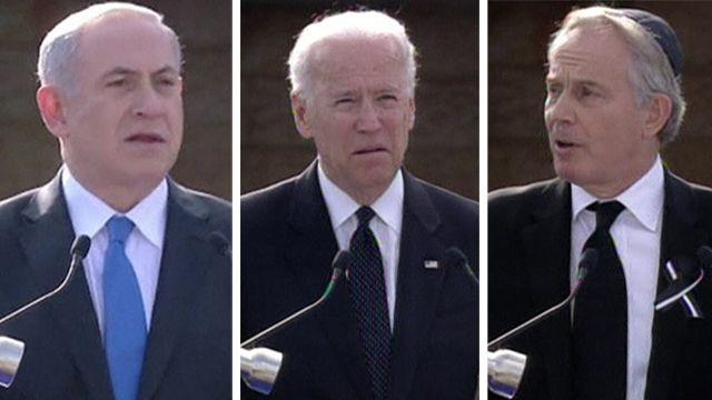Israeli Prime Minister Benjamin Netanyahu, US Vice President Joe Biden, former British Prime Minister Tony Blair