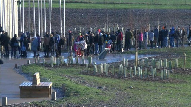 Crowds queuing outside the new Stonehenge visitor centre