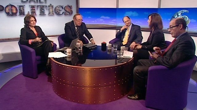 Nick Robinson deals with phone during Daily Politics debate