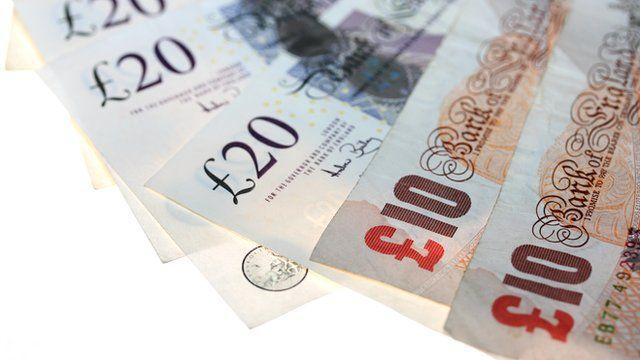 British ten and twenty pound notes