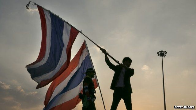 Protesters with flags in Bangkok