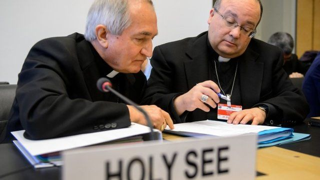 Silvano Tomasi (L) speaks with Former Vatican Chief Prosecutor of Clerical Sexual Abuse Charles Scicluna