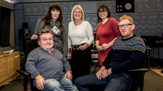 Simon Minty, Nicky Clark, Mary-Anne Rankin, Kate Monaghan, Rob Crossan in the studio.
