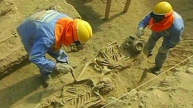 Archaeologists working on the ancient burial site in the region of Lamabyeque